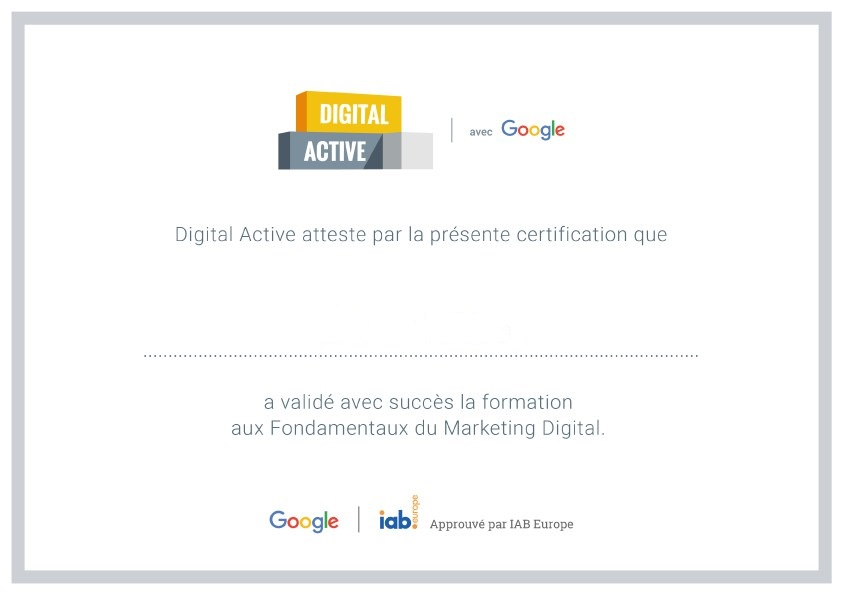 diplome Certification-Digital-Active