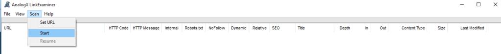 page d'accueil du logiciel linkexaminer