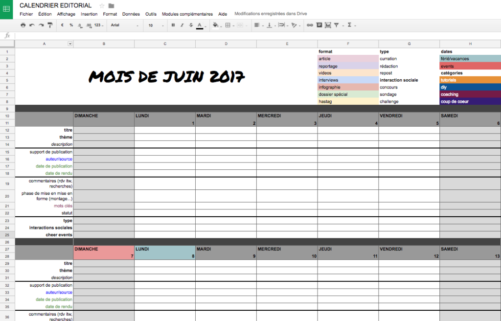 exemple calendrier editorial sur Google sheet